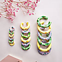 Strawberries Hand Painted Green Clay Hoop Earrings - Strawberries & Green Large image