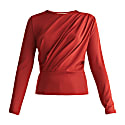 Diagonal Draped Top With Teardrop Cut Out Back In Burgundy image