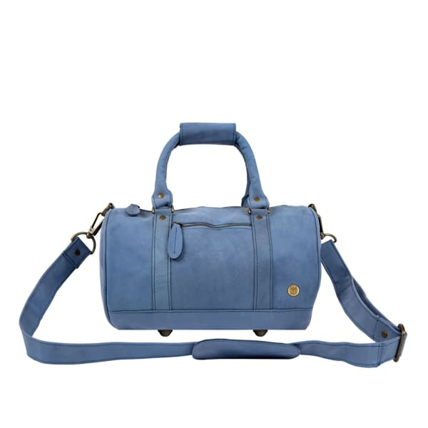 MAHI LEATHER Mini Duffle Handbag In Pastel Blue Suede