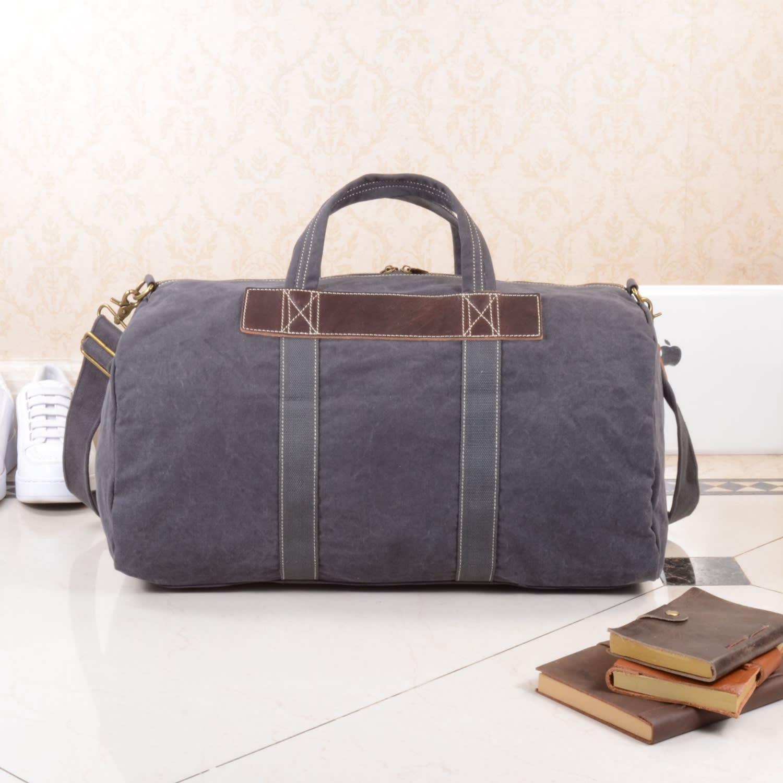 fc99e59e2e Canvas   Leather Duffle Bag In Grey