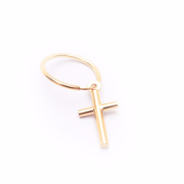 SERGE DENIMES Yellow Gold Cross Earring