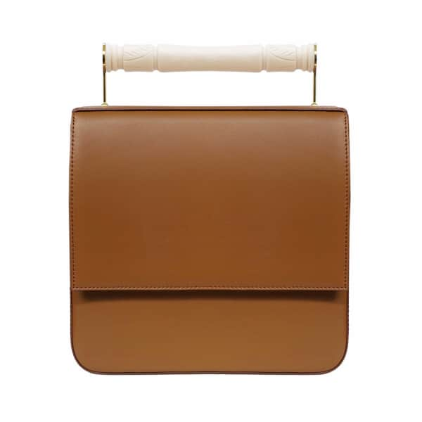 AEVHA LONDON Helve Crossbody In Tan With Resin Handle