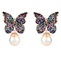 Baroque Pearl Multi Coloured Butterfly Earrings Rosegold image