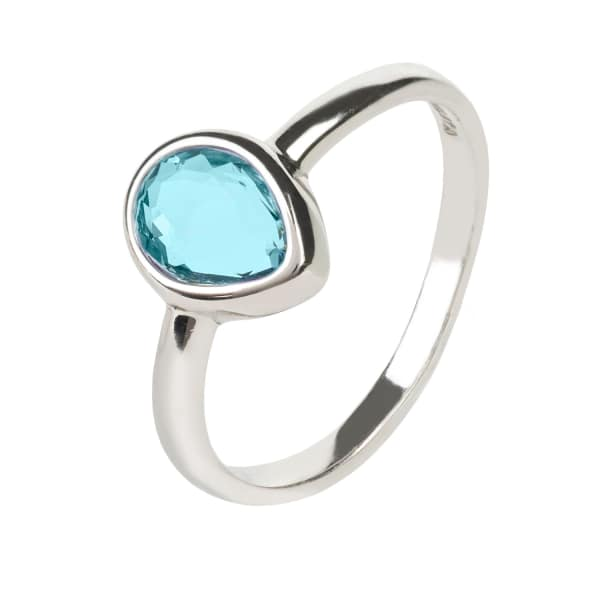 Pisa Mini Teardrop Ring Silver Blue Topaz Hydro