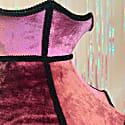 Pink High Shine Velvet Crown Lampshade With Black Fringe & Tassels image
