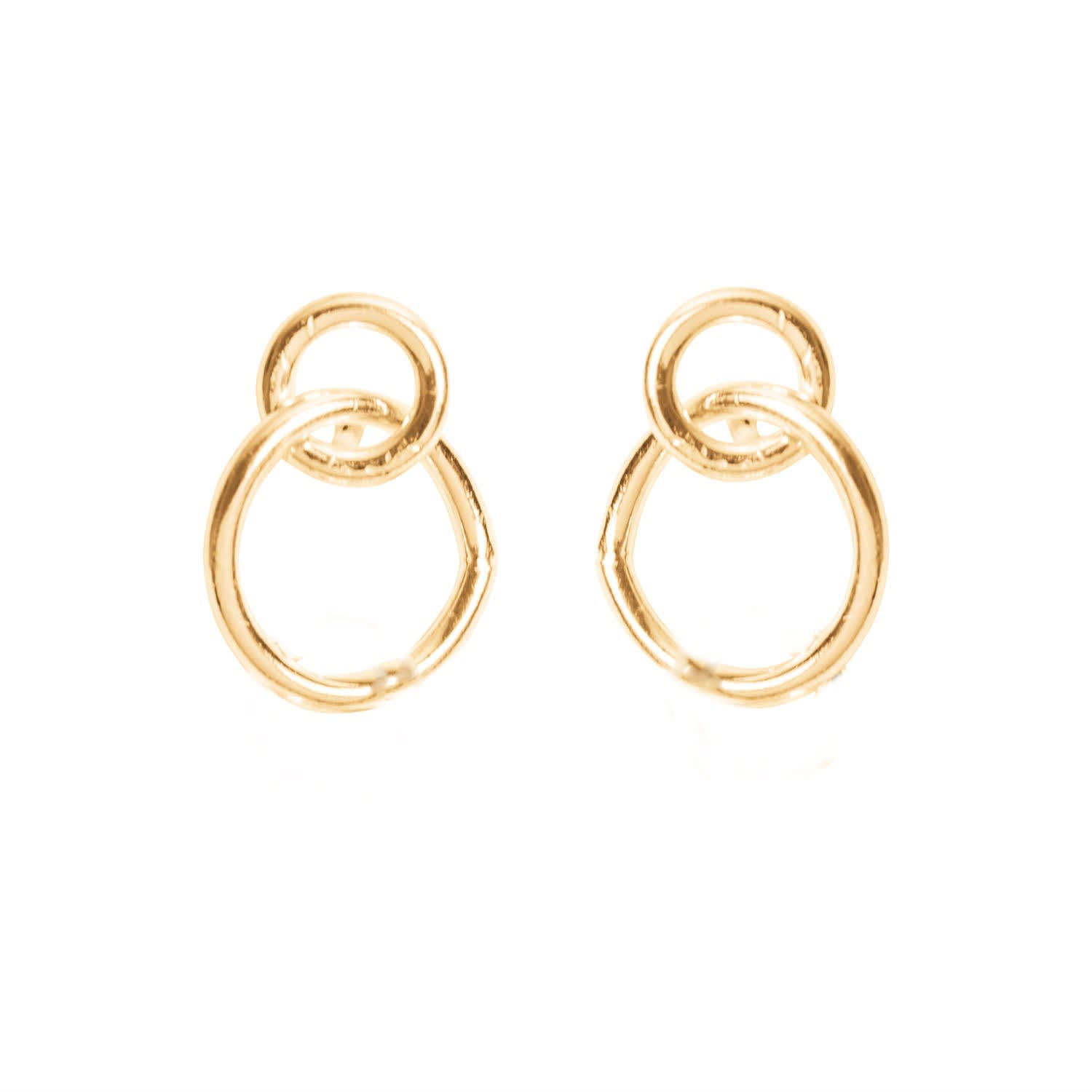 14K Yellow gold Interconnecting Circle Earrings