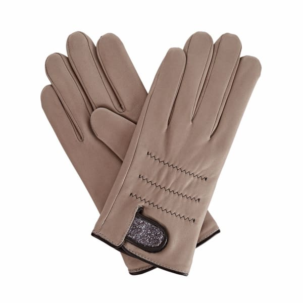 Anna Grey Leather Gloves With Grey Scharing Liberty Tana Lawn