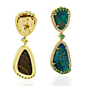 18Kt Yellow Gold Diamond Dangle Earrings With Opal Doublet image