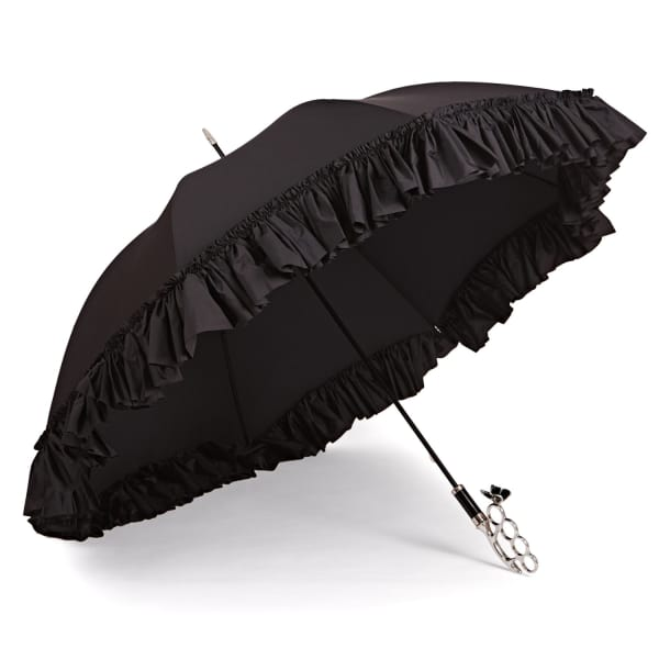 GIZELLE RENEE The Nirvana Umbrella Frilly Long Black Umbrella