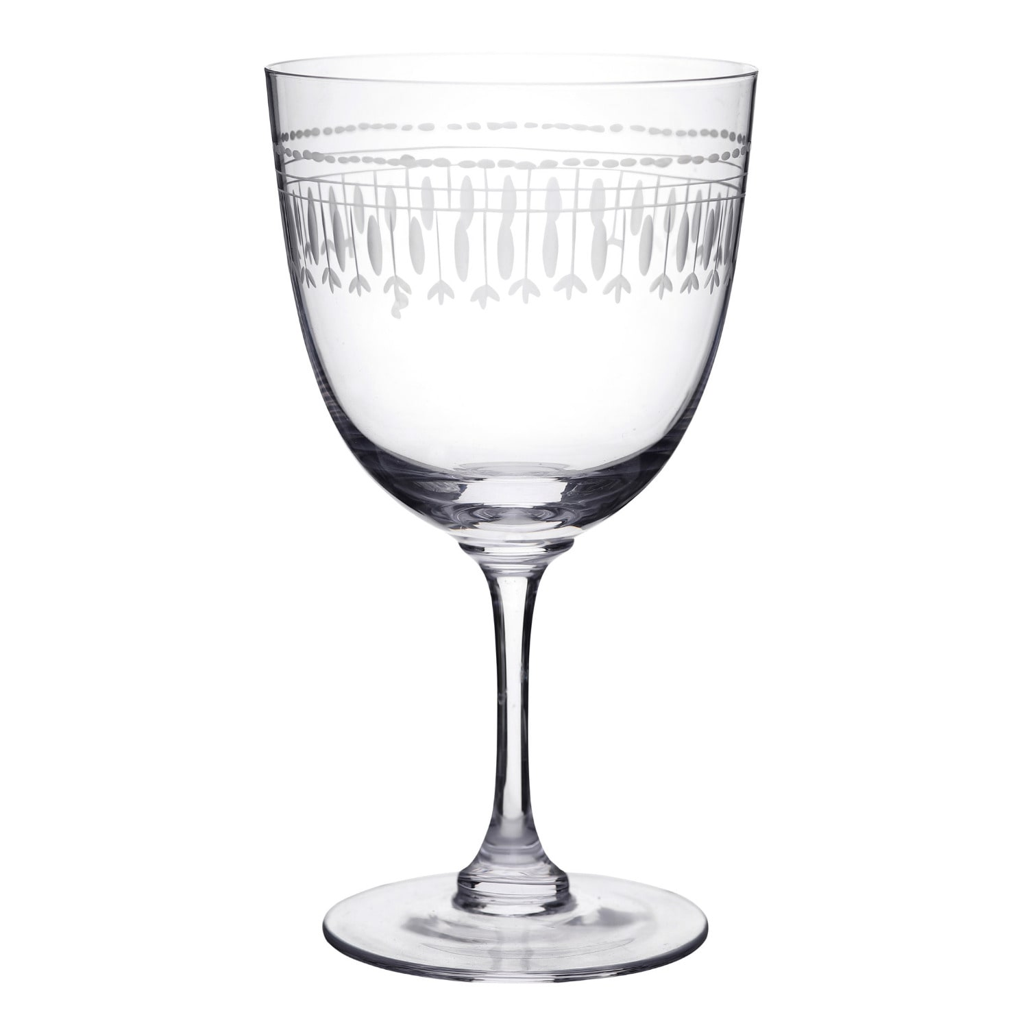 The Vintage List - Six Hand-Engraved Crystal Wine Glasses with Ovals Design