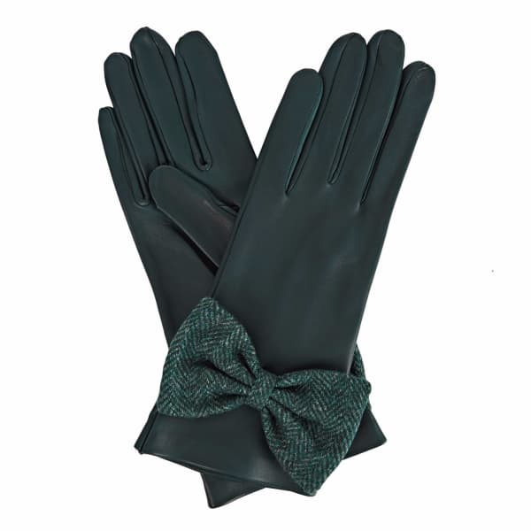 GIZELLE RENEE Josephine Green Leather Gloves With Green Tweed