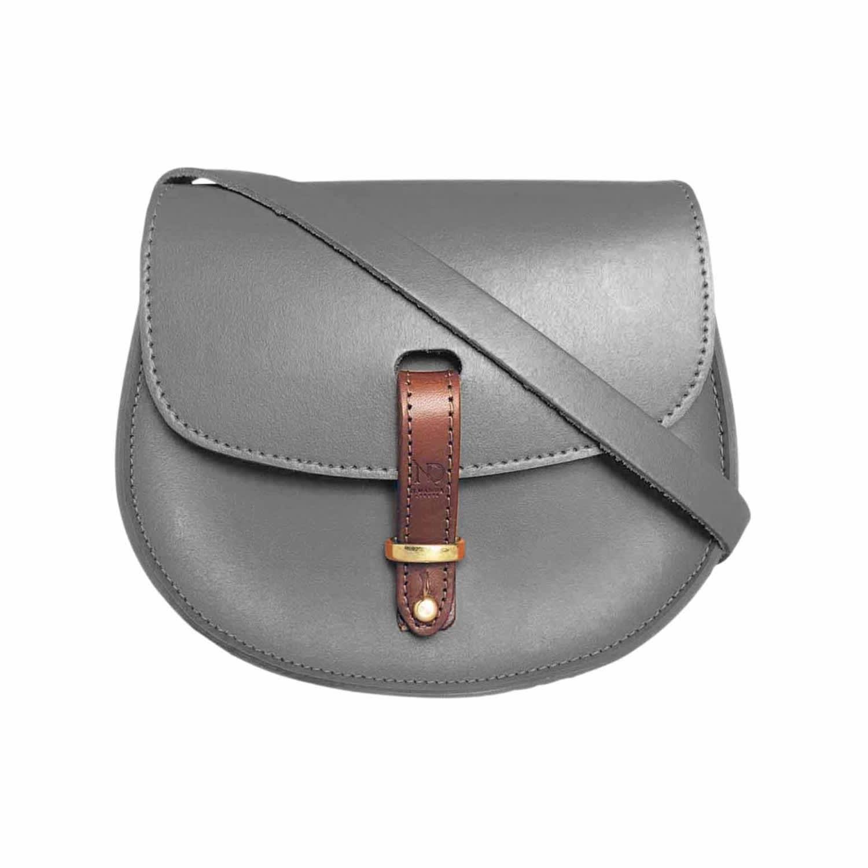 f725c67634f6 Mini Victoria Grey Leather Crossbody Saddle Bag image
