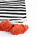 Orange Cotton Stripe Pom Pom Blanket image