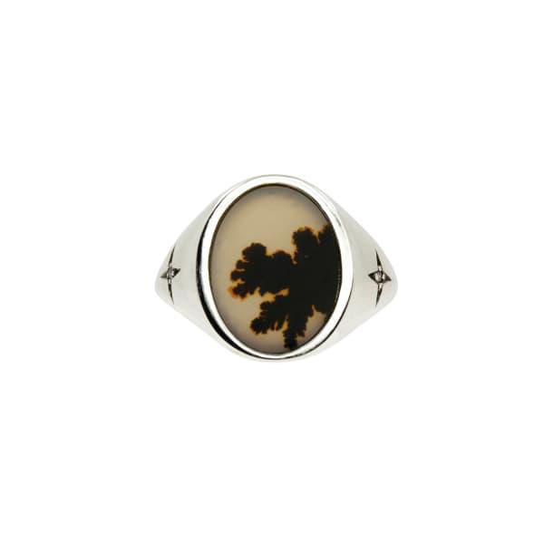 NO 13 Agate & Diamond Vertical Signet Ring – Silver