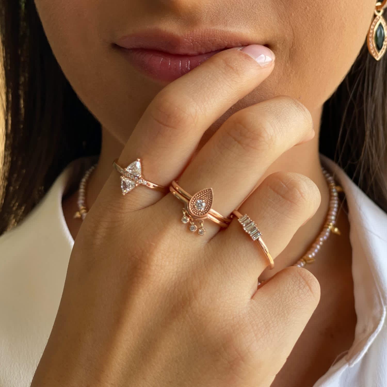 Double Diamonds Rose Gold Ring M Uk Serafin Jewellery Wolf Badger
