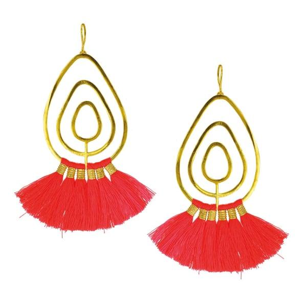 OTTOMAN HANDS Coral Tassel Gold Statement Earrings