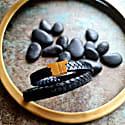Black Leather Double Wrap - Stark Gold image