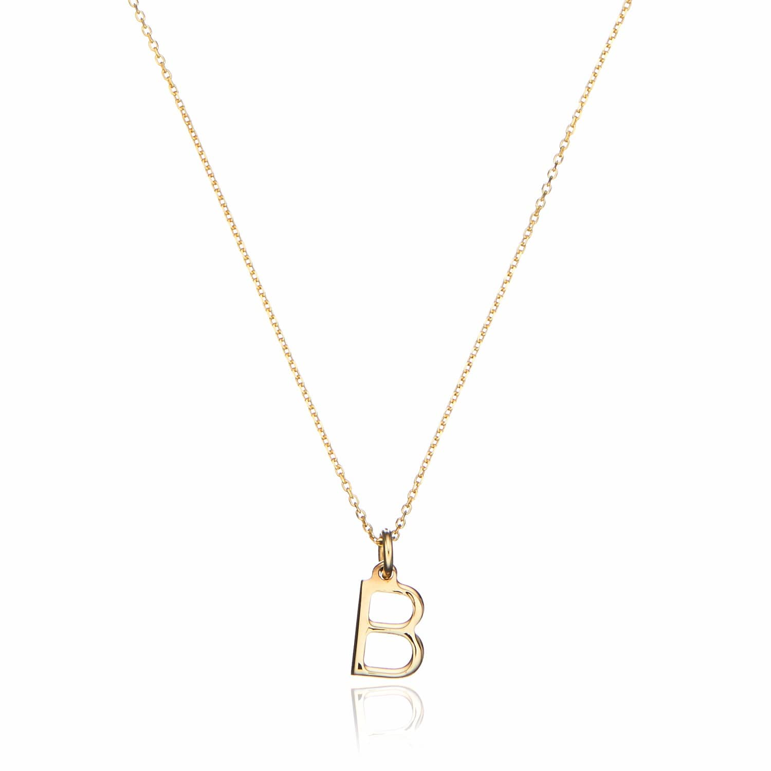 solid gold small initial letter charm necklace image