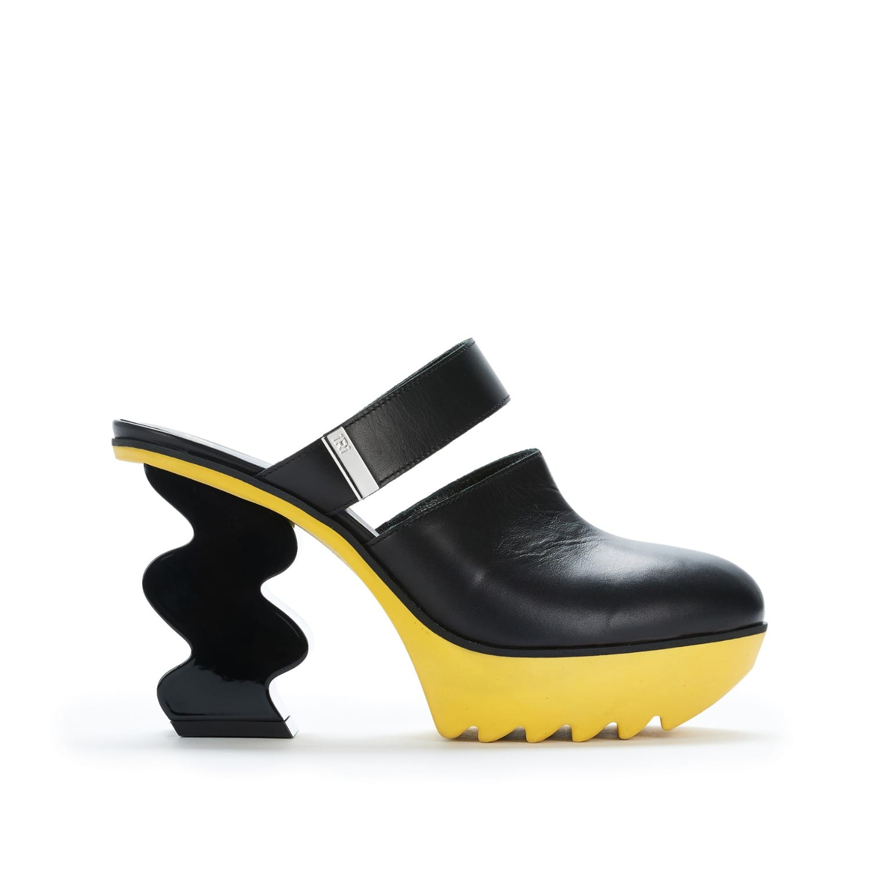 Black Strap Leather Heel