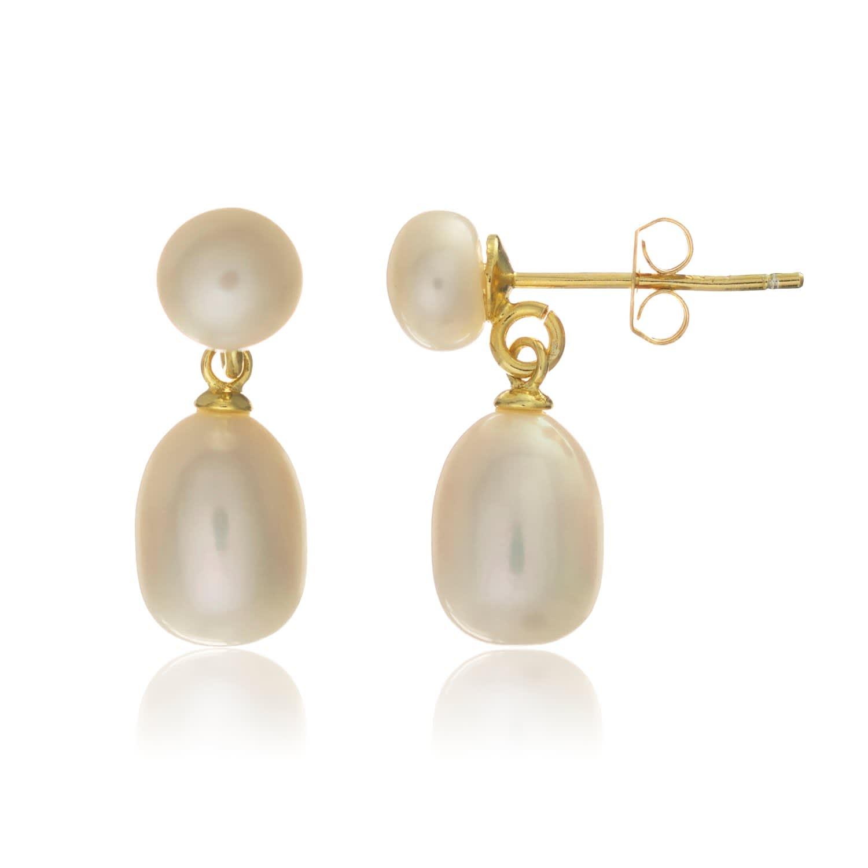 93bed510d Glebe Double White Pearl & Gold Vermeil Drop Earrings   Auree ...