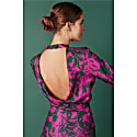 Adria Floral Printed Pink Green Open Back Mini Dress image