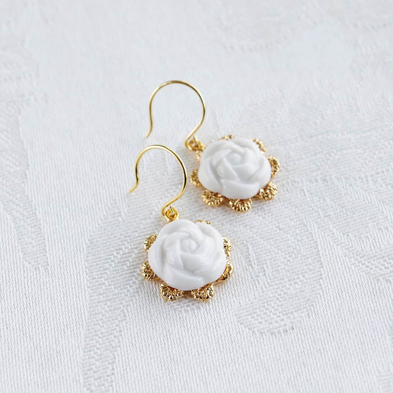 5be5fd7a385f4 Everyday Porcelain Camellia Flower Charm Earrings by POPORCELAIN
