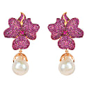 Rosegold Flower Baroque Pearl Earring Ruby Cz image