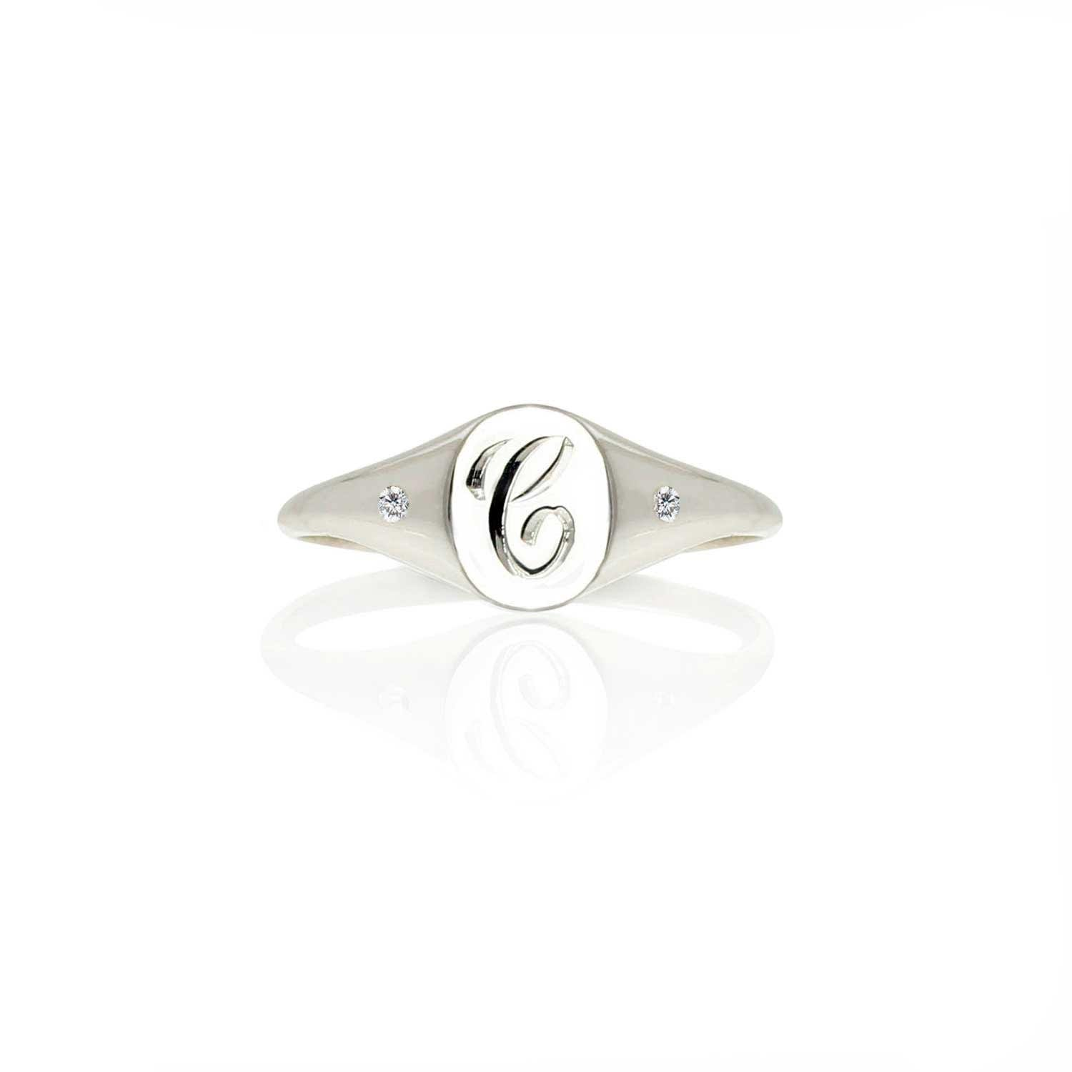 Order Your Initials -Sterling Silver with Rose Gold Personalized Monogram Ring