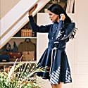 Marina Long Sleeve Shirt Dress In Navy Blue image