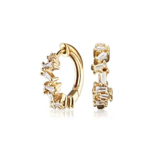 LILY & ROO Small Gold Jagged Diamond Style Huggie Hoop Earrings