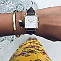 Neliö Square Vegan Leather Watch Gold, White & Chestnut image