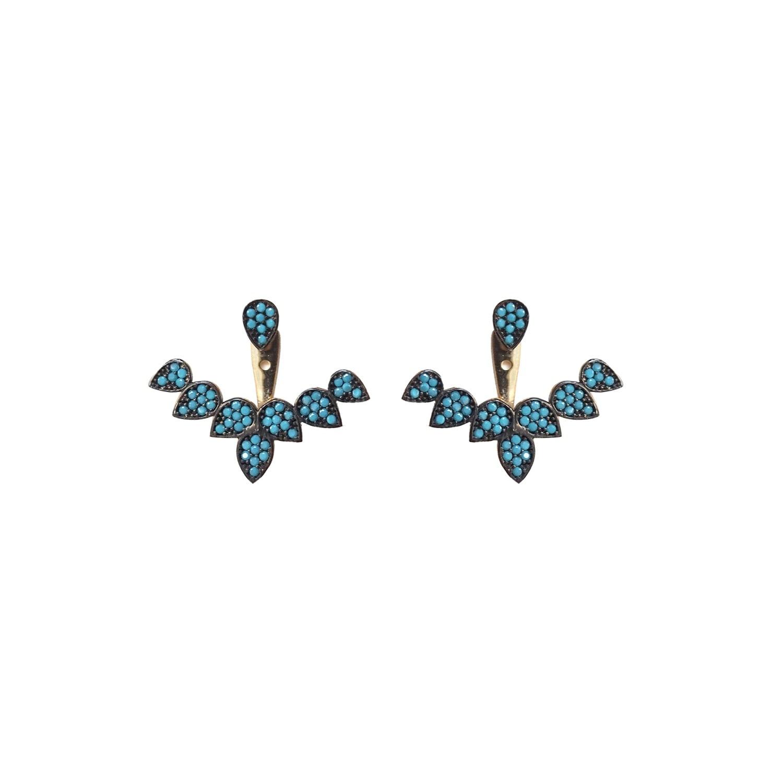 Wild Hearts - Turquoise Petal Ear Jackets Gold