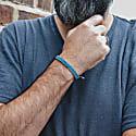Vegan Waterproof Rope & Silver Bracelet For Men. Grey & Light Blue. Thames British Connection image