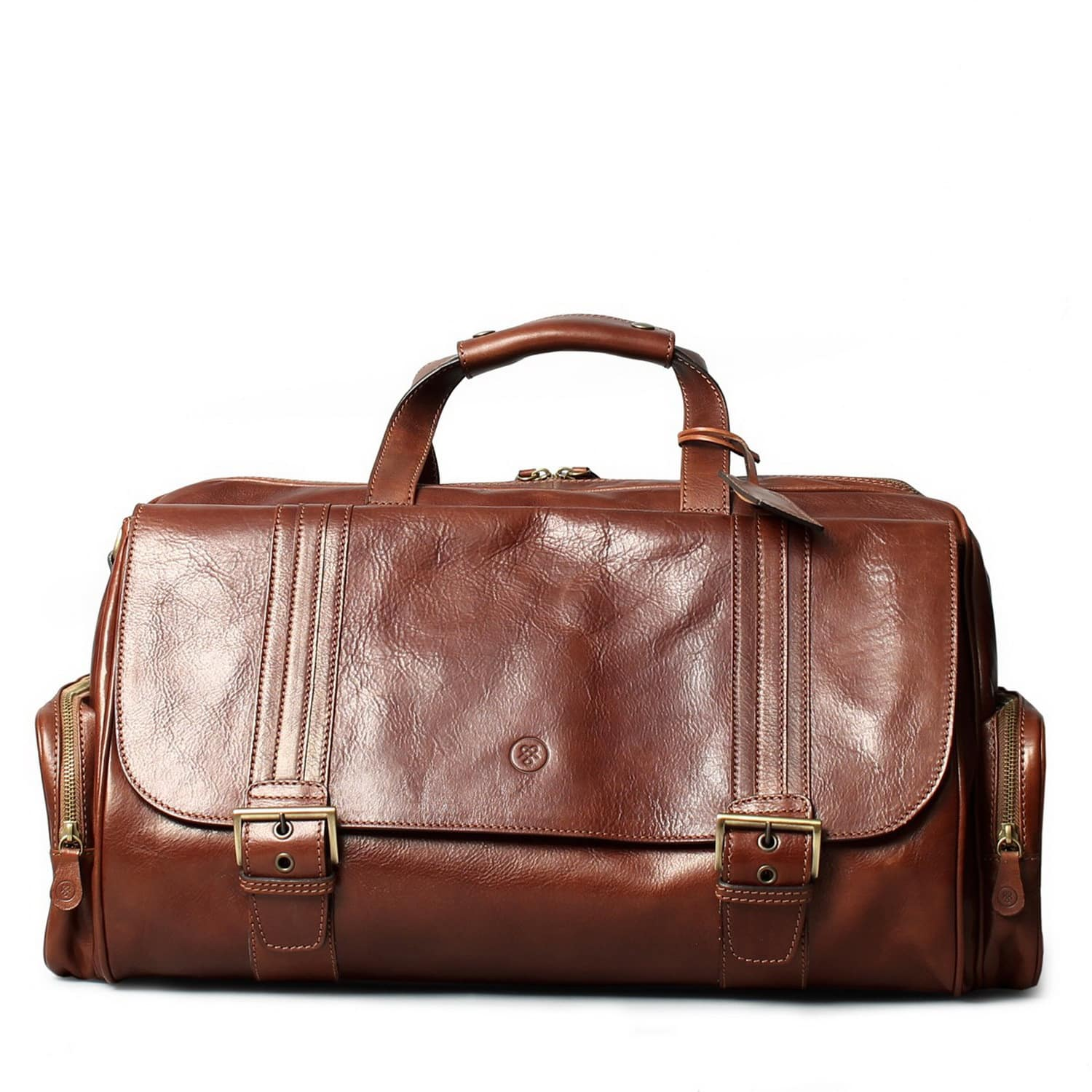 e5adda2dbf0ff Luxury Italian Leather Men's Duffle Bag Dino M Chestnut Tan ...