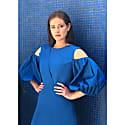 Asymmetric Lapel A-Line Cotton Dress (Sapphire Blue) image