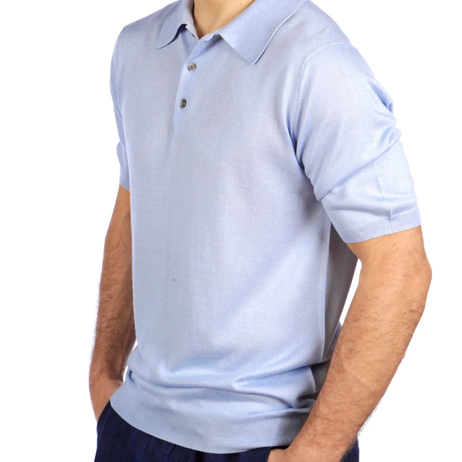 f3c072f6c4e9 Shoal Silk Blend Polo Shirt Summer Blue image