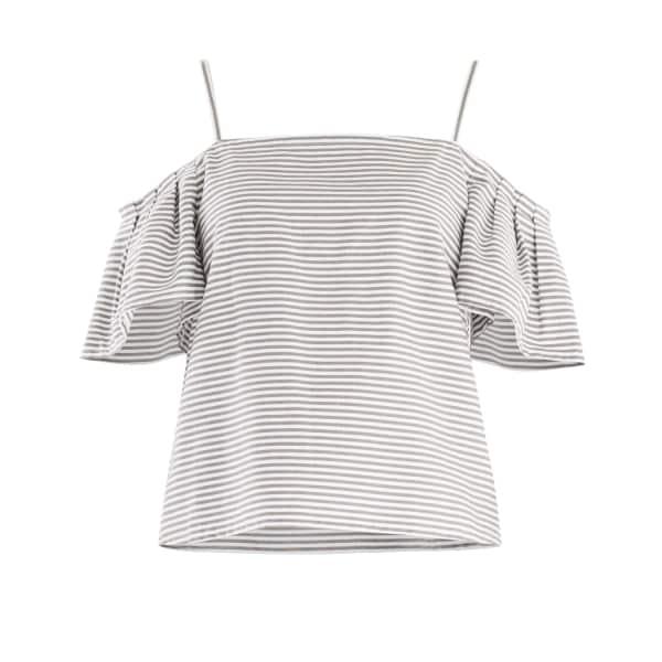 PAISIE Striped Cold Shoulder Crop Top with Shoulder Pleats