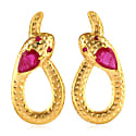 18K Gold Snake Earring With Ruby image