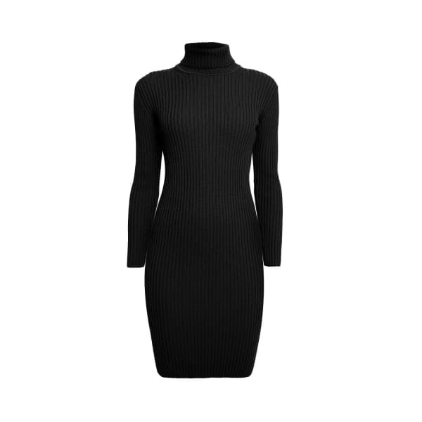 RUMOUR LONDON Claudia Black Ribbed Turtle Neck Dress