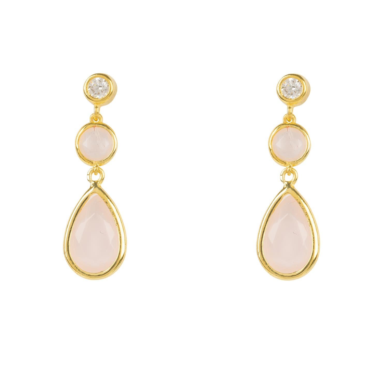 Gift Box Graduated Rose Quartz Gemstone /& Sterling Silver Drop Earrings