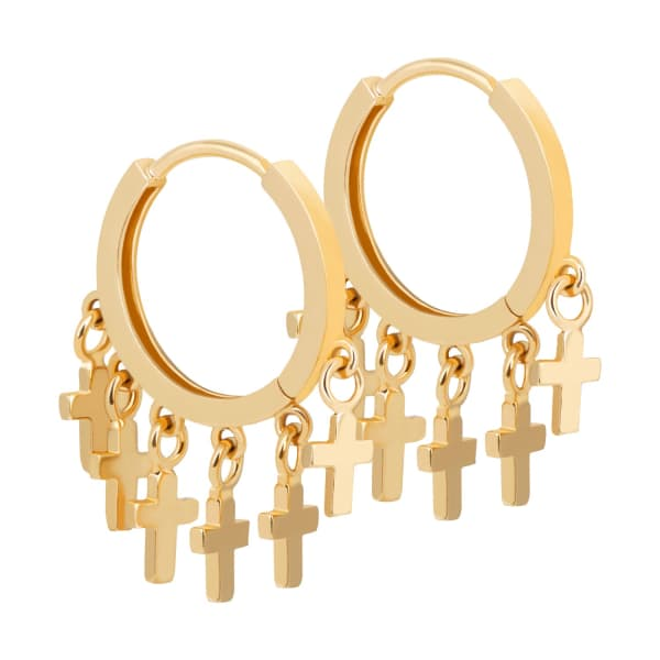 ASTRID & MIYU Mystic Cross Charm Hoops In Gold