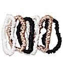 Set Of 6 Skinny Silk Hair Scrunchies - Ivory, Champagne Gold & Black image