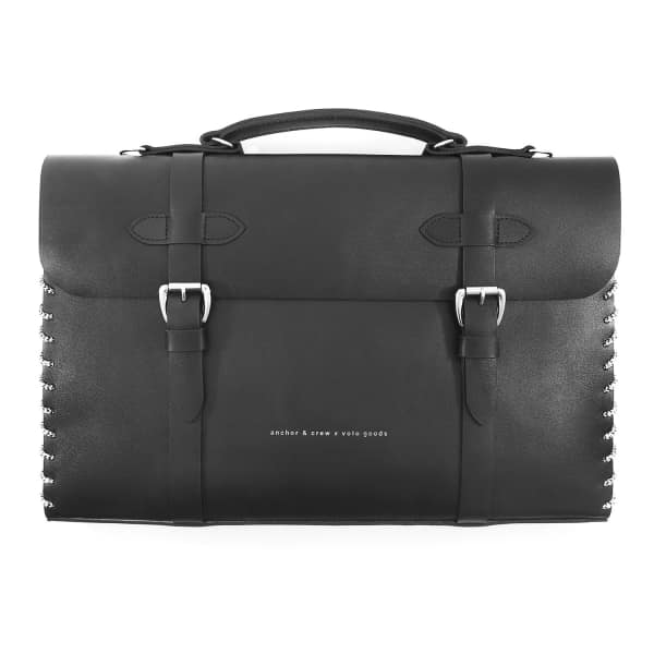 ANCHOR & CREW Graphite Black Rufford Leather and Rope Briefcase