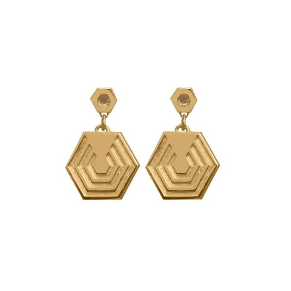 EDGE ONLY Hexagon Drop Earrings In Gold