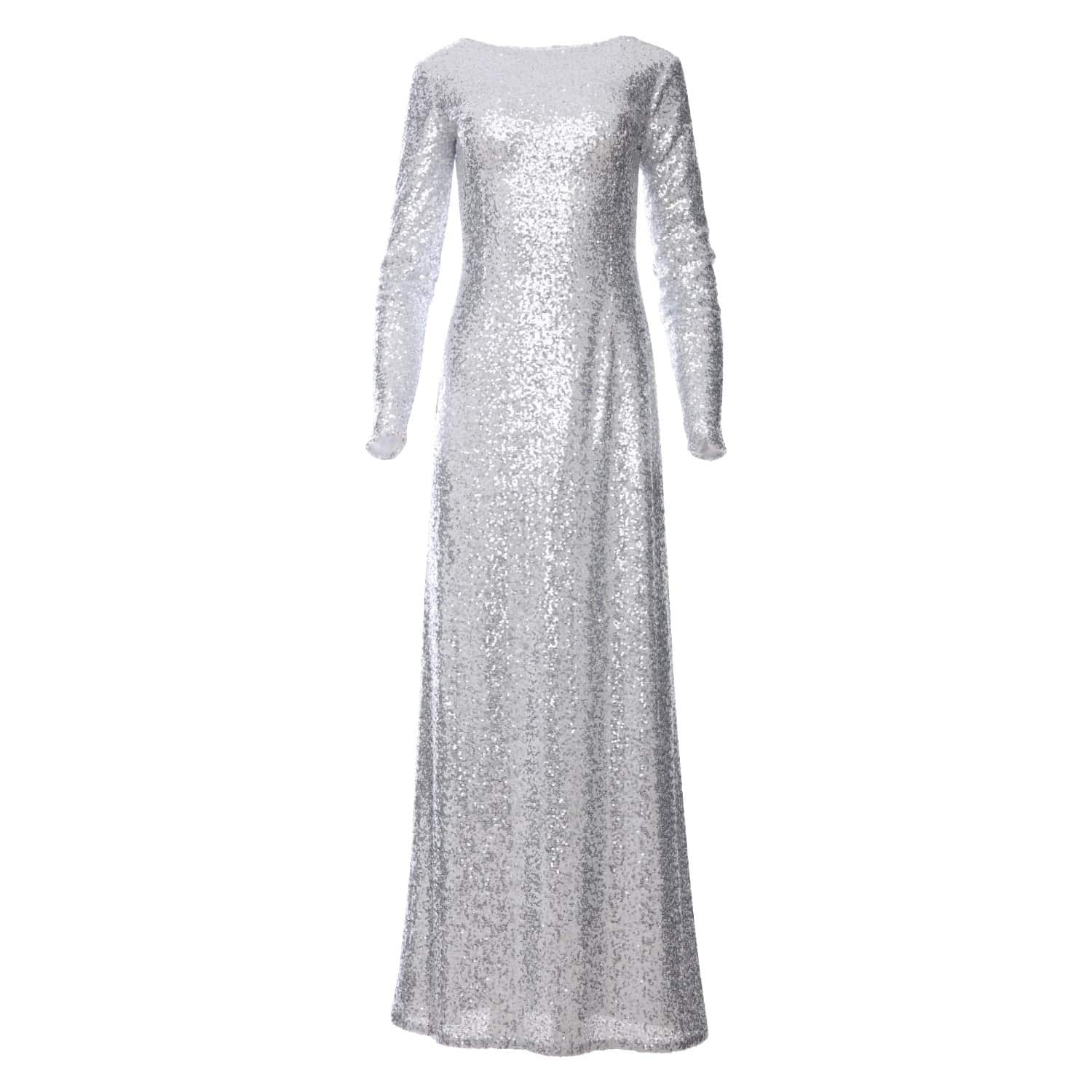 76705909705 Amal Silver Sequin Glitter Maxi Dress With Long Sleeves | Zalinah ...