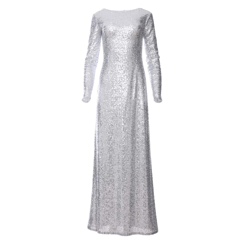 3ebac4732f8bc Amal Silver Sequin Glitter Maxi Dress With Long Sleeves | Zalinah ...