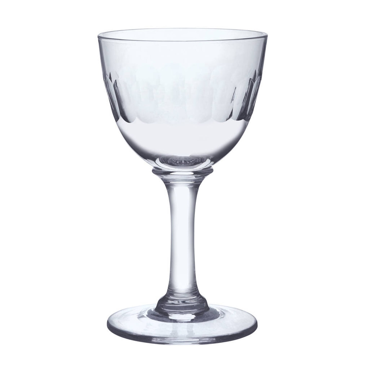 The Vintage List - Six Hand-Engraved Crystal Liqueur Glasses with Lens Design