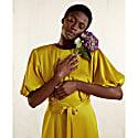 Draped Puff Sleeve Satin Dress (Golden Yellow) image