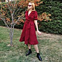Dark Cherry Red Double-Breasted V-Neck Cotton Dress With Ruffles image
