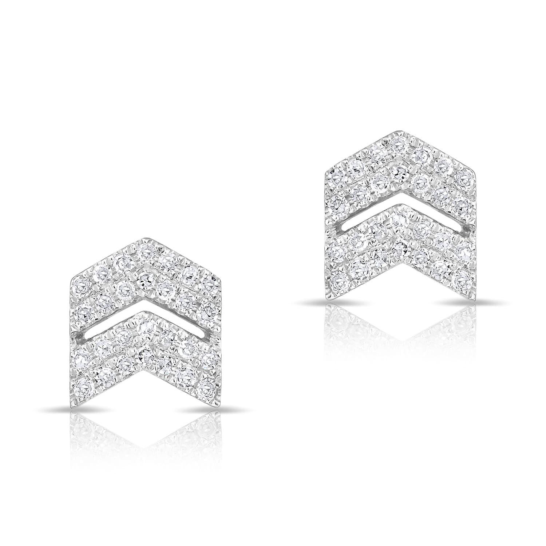 White Gold Diamond Double Maverick Chevron Stud Earrings Image
